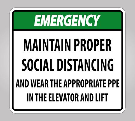 Emergency Maintain Proper Social Distancing Sign Isolate On White Background,Vector Illustration  イラスト・ベクター素材