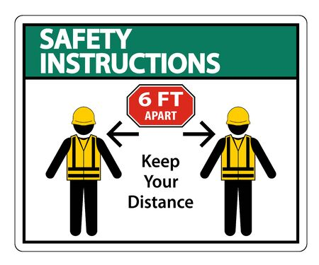 Safety Instructions Social Distancing Construction Sign Isolate On White Background,Vector Illustration 矢量图片