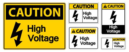 Caution High voltage Sign Isolate On White Background,Vector Illustration EPS.10  向量圖像