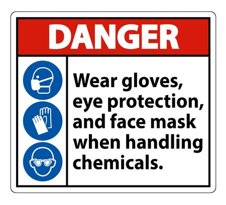 Danger Wear Gloves, Eye Protection, And Face Mask Sign Isolate On White Background,Vector Illustration Vettoriali