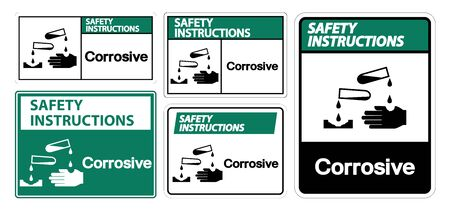 Safety Instructions Corrosive Symbol Sign Isolate On White Background,Vector Illustration EPS.10