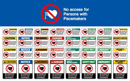 No Access For Persons With Pacemaker Symbol Sign On White Background