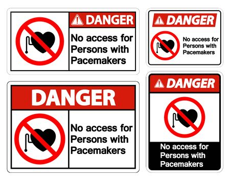 Danger No Access For Persons With Pacemaker Symbol Sign On White Background Ilustrace