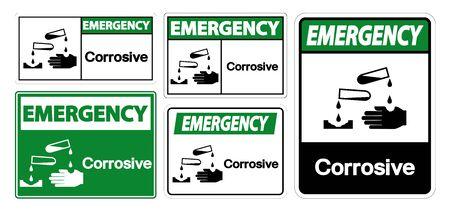 Emergency Corrosive Symbol Sign Isolate On White Background,Vector Illustration EPS.10