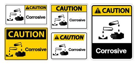 Caution Corrosive Symbol Sign Isolate On White Background,Vector Illustration EPS.10