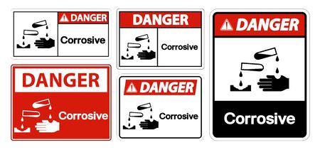 Danger Corrosive Symbol Sign Isolate On White Background,Vector Illustration EPS.10  向量圖像