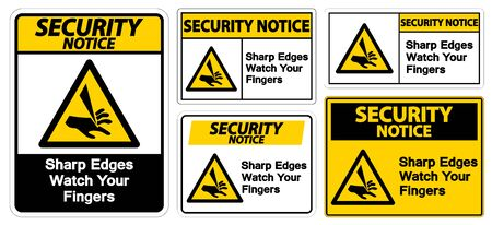 Security Notice Sharp Edges Watch Your Fingers Symbol Sign Isolate On White Background,Vector Illustration