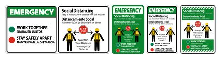 Emergency Bilingual Social Distancing Construction Sign Isolate On White Background,Vector Illustration