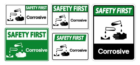 Safety First Corrosive Symbol Sign Isolate On White Background,Vector Illustration 向量圖像