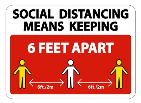 Social Distancing Means Keeping 6 Ft apart Sign Isolate On White Background,Vector Illustration