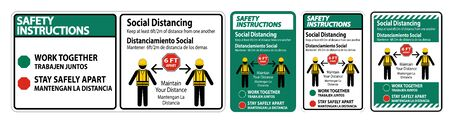 Safety Instructions Bilingual Social Distancing Construction Sign Isolate On White Background,Vector Illustration