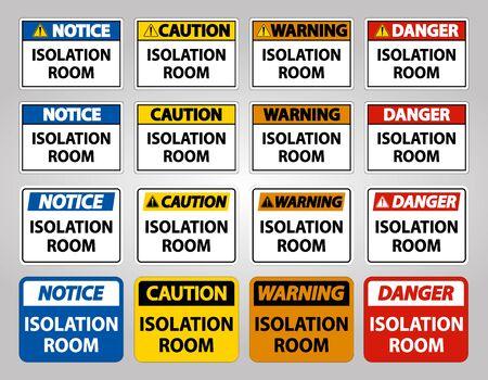 Set Isolation room Sign Isolate On White Background,Vector Illustration EPS.10
