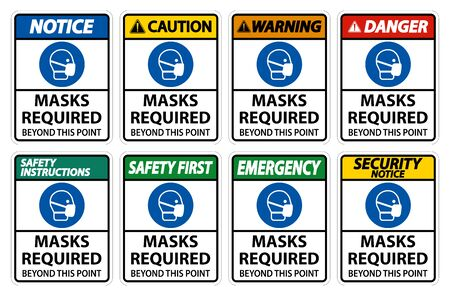 Masks Required Beyond This Point Sign Isolate On White Background,Vector Illustration