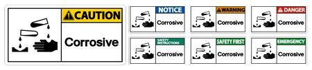 Corrosive Symbol Sign Isolate On White Background,Vector Illustration EPS.10