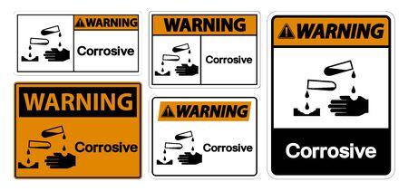 Warning Corrosive Symbol Sign Isolate On White Background,Vector Illustration EPS.10