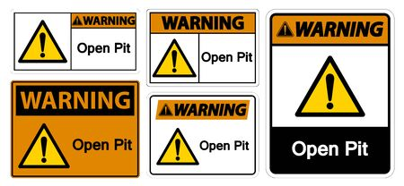 Warning Open Pit Sign Isolate On White Background,Vector Illustration