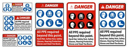 Danger PPE Required Beyond This Point. Hard Hat, Safety Vest, Safety Glasses, Hearing Protection