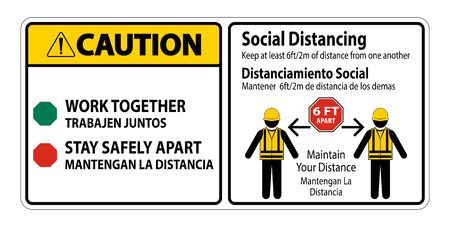 Caution Bilingual Social Distancing Construction Sign Isolate On White Background,Vector Illustration Illustration