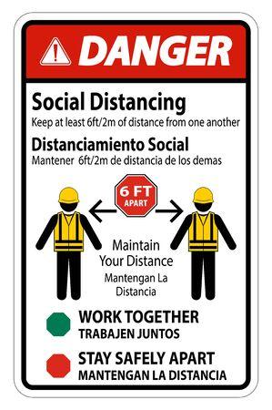 Danger Bilingual Social Distancing Construction Sign Isolate On White Background,Vector Illustration Illustration