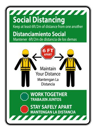 Bilingual Social Distancing Construction Sign Isolate On White Background,Vector Illustration