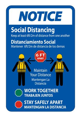 Notice Bilingual Social Distancing Construction Sign Isolate On White Background,Vector Illustration