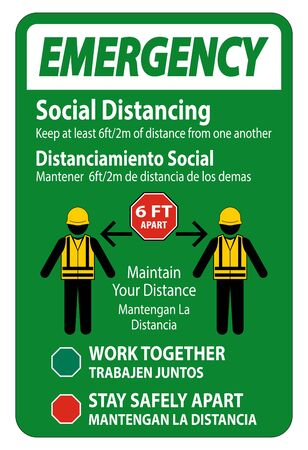 Emergency Bilingual Social Distancing Construction Sign Isolate On White Background,Vector Illustration Illustration