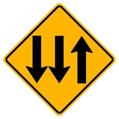 Warning signs Three Lane Traffic Road on white background Illusztráció