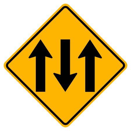 Warning signs Three Lane Traffic Road on white background   イラスト・ベクター素材
