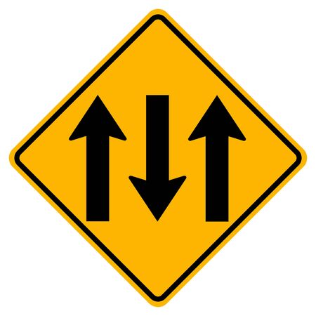 Warning signs Three Lane Traffic Road on white background