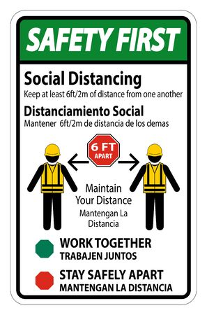 Safety First Bilingual Social Distancing Construction Sign Isolate On White Background,Vector Illustration