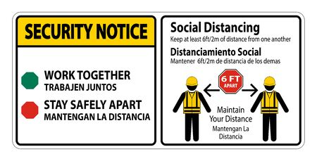 Security Notice Bilingual Social Distancing Construction Sign Isolate On White Background,Vector Illustration