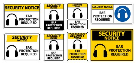 Security Notice Ear Protection Required Symbol Sign Isolate on transparent Background,Vector Illustration