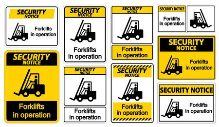 Security Notice forklifts in operation Symbol Sign Isolate on transparent Background,Vector Illustration   イラスト・ベクター素材