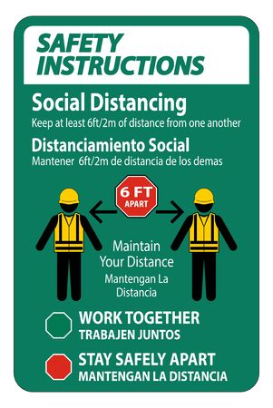 Safety Instructions Bilingual Social Distancing Construction Sign Isolate On White Background, Vector Illustration 矢量图片
