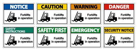 forklifts in operation Symbol Sign Isolate on transparent Background,Vector Illustration  Ilustracja