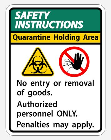 Safety Instructions Quarantine Holding Area Sign Isolated On White Background Foto de archivo - 150239793