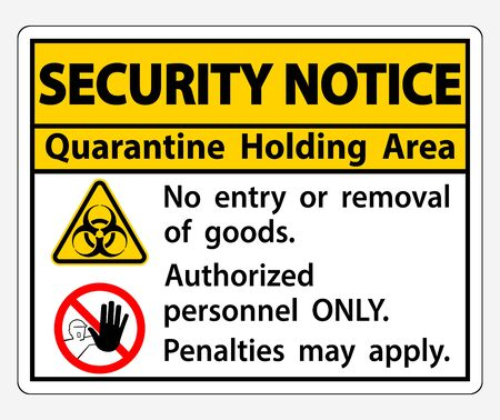 Security Notice Quarantine Holding Area Sign Isolated On White Background Foto de archivo - 150239803