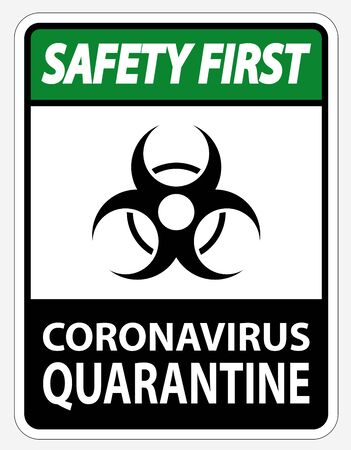 Safety First Coronavirus Quarantine Sign Isolated On White Background