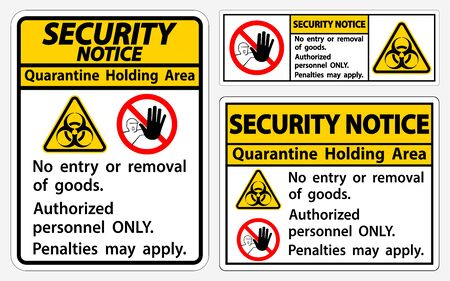Security Notice Quarantine Holding Area Sign Isolated On White Background Foto de archivo - 150375092