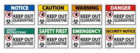 Keep Out Quarantine Sign Isolate On White Background