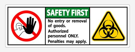 Safety First Quarantine Holding Area Sign Isolated On White Background