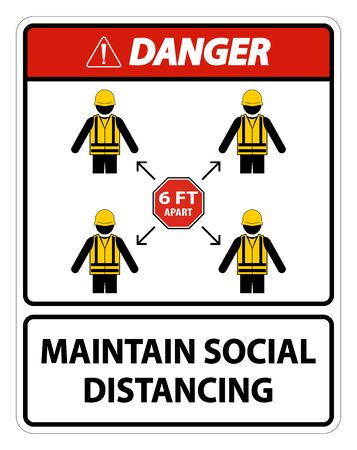 Danger Maintain social distancing, stay 6ft apart sign,coronavirus COVID-19 Sign Isolate On White Background