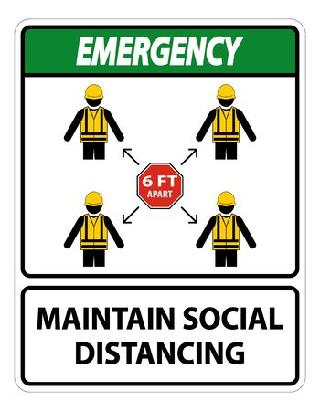 Emergency Maintain social distancing, stay 6ft apart sign,coronavirus COVID-19 Sign Isolate On White Background