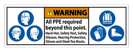 Warning PPE Required Beyond This Point. Hard Hat, Safety Vest, Safety Glasses and Hearing Protection.