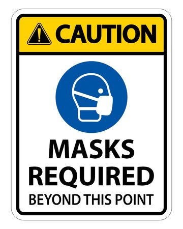 Caution Masks Required Beyond This Point Sign Isolate On White Background Vettoriali
