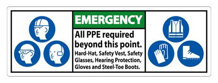 Emergency PPE Required Beyond This Point. Hard Hat, Safety Vest, Safety Glasses, Hearing Protection
