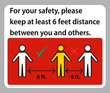 Keep 6 Feet Distance,For your safety,please keep at least 6 feet distance between you and others. Çizim