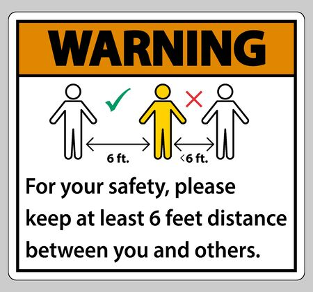 Warning Keep 6 Feet Distance,For your safety,please keep at least 6 feet distance between you and others.