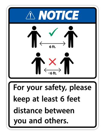 Notice Keep 6 Feet Distance,For your safety,please keep at least 6 feet distance between you and others.