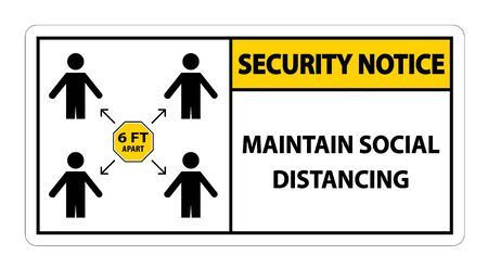 Security Notice Maintain social distancing, stay 6ft apart sign,coronavirus COVID-19 Sign Isolate On White Background